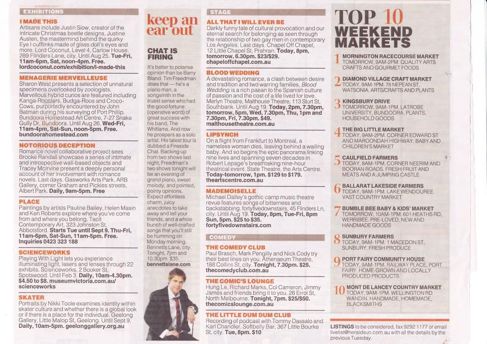 Herald Sun Weekend Liftout 11th August 2012