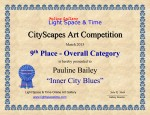 9th Place, Overall category - CITYSCAPES 2015 ART COMPETITION CERTIFICATE, Florida USA